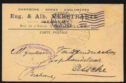EUG.&ALB. VERSTRAETE  ISEGEM   NAAR ASSE DUITSCHE CONTROLE STEMPEL 1916  HOUBLONS V.GINDERACHTER  2 SCANS - Asse