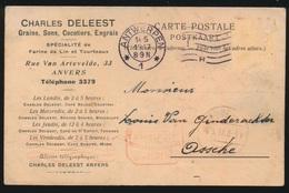 CHARLES DELEEST ANTWERPEN    NAAR ASSE DUITSCHE CONTROLE STEMPEL 1917  HOUBLONS V.GINDERACHTER  2 SCANS - Asse