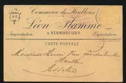 LEON FLAMME STAMBRUGES    NAAR ASSE DUITSCHE CONTROLE STEMPEL 1917  HOUBLONS V.GINDERACHTER  2 SCANS - Asse