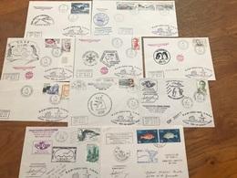 L10 TAAF Lot De 10 Lettres De Missions Marion Dufresne Crozet Adélie Radio Fdc Et Autres Années 1980/2000 - FDC