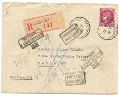3 Recommandés 1941 De Paris, Nombreux Cachets Et Mentions De Non Distribution, CERÈS 3F ET PETAIN 1F - Marcofilia (sobres)