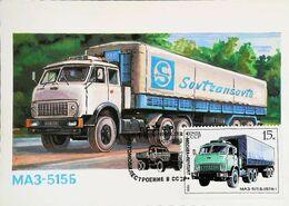 CAMION  POIDS LOURD SOVIÉTIQUE MA3 - Carte Maximum Card Russe CCCP URSS    Timbre Truck Lkw Vrachtwagen 1986 - Camion, Tir