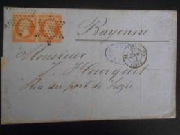 France Napoleon Numero 16 Paire , Lettre De Paris 1854 Pour Bayonne - 1853-1860 Napoleone III