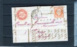France Napoleon Numero 16 , Lettre De Saint Jean D Angely 1857 Pour Pons - 1853-1860 Napoléon III