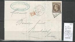 Lettre De Montpellier  Pour Neufchatel - SUISSE -1869 - Yvert 30 Napoléon Lauré - 1849-1876: Periodo Clásico