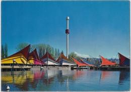 Flaggenstempel Fête Fédérale Des Costumes Suisses Auf Ansichtskarte Exposition Nationale Suisse, Lausanne 1964 - Postmark Collection