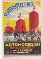 VIGNETTE TENTOONSTELLING - AUTOMOBIELEN MOTORRJWIELEN AMSTERDAM  11-20 JANUARI 1929  / R 253 - Commemorative Labels