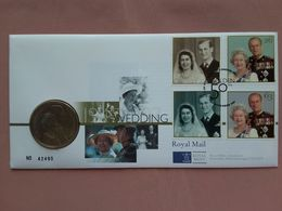 GRAN BRETAGNA - F.D.C. Nozze D'oro Elisabetta II° Con Moneta ďa 5 Sterline Proof + Spese Postali - FDC