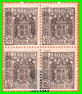 BLOQUE DE 4 SELLOS.AÑOS 1936-1939. VALOR 0.35 CENTIMOS DE  PESETAS *NUEVOS* MUY RAROS - Impuestos De Guerra