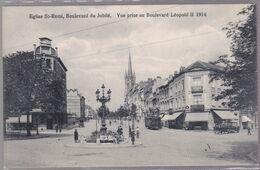 CPA - Bruxelles - Eglise St. Rémi Molenbeek - Boulevard Du Jubilé - Vue Du Boulevard Léopold II  - Tram - 1914 - Molenbeek-St-Jean - St-Jans-Molenbeek