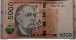 Armenia Arménie Armenien 2018 NEW Banknote - 5000 Dram UNC Hybrid Technology Armenian-American Writer W. Saroyan - Armenia