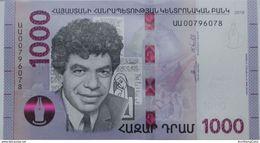 Armenia Arménie Armenien 2018 NEW Banknote - 1000 Dram UNC Hybrid Technology Writer Sevak - Armenia