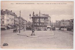 CPA - Bruxelles - Schaerbeek - Place De Liedts - Avenue De La Reine Et Rue Des Palais - Kiosque - Trams - Schaarbeek - Schaerbeek