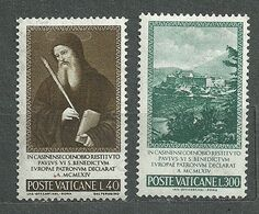 Vatican, 1965 (#480-81a), Pope Paul VI, St. Benedict Of Nursia Patron Of Europe, Montecassino Monastery, Painting - 2v - Theologen