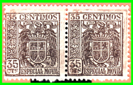 PAREJA DE SELLOS.AÑOS 1936-1939. VALOR 0.35 CENTIMOS DE  PESETAS *NUEVOS* MUY RAROS - Impuestos De Guerra