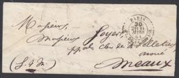"""France 1864  - Précurseur De Paris à Destination Meaux. Lettre Non Affranchie  La Poste à Paris"""" ......   (VG) DC-7814 - France"""