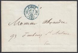 """France 1863- Précurseur De Paris Pour Paris -Lettre Non Affranchie  La Poste à Paris"""" .........   (VG) DC-7812 - France"""