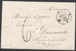 """France 1858  - Précurseur De Paris à Destination Dixmude.   La Poste à Paris"""" ...   (VG) DC-7816 - France"""