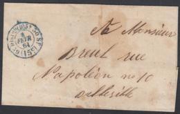 """France 1861  - Précurseur De Paris à Destination Belleville. Lettre Non Affranchie  La Poste à Paris"""" ...   (VG) DC-7815 - France"""