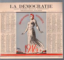Calendrier 1946 Du Quotidien LA DEMOCRATIE  (M0569) - Grossformat : 1941-60