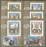 GUINE BISSAU 1981 - Princess Diana Royal Wedding, Complete Set Of 6 Deluxe Miniature Sheets IMPERF, MNH - Guinea-Bissau