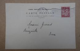 FRANCE CARTE Lettre De Paris RUE DANTON A Beuzeville Eure 1945 + PERFORATION F K - France