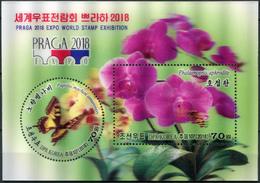 Korea 2018. Orchid Phalaenopsis (3D) (MNH OG) Souvenir Sheet - Korea, North