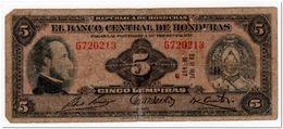 HONDURAS,5 LEMPIRAS,1967,P.51c - Honduras