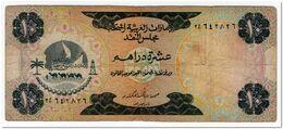 UNATED ARAB EMIRATES,10 DIRHAMS,1973,P.3,FINE,2 STAPLE HOLES,AND SOME PEN MARK - Ver. Arab. Emirate
