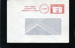 CG47 - 1969 San Marino - Busta Viaggiata - Cachet Rosso Lire 50 - Saint-Marin