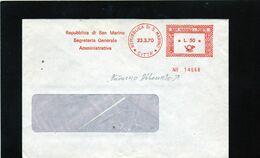CG47 - 1970 San Marino - Busta Viaggiata - Cachet Rosso Lire 50 - Con Numero Abbonato Filatelico - Saint-Marin