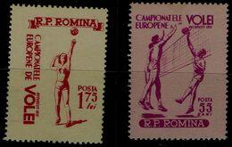 ROMANIA 1955 EUROPEAN CHAMPIONSHIPS IN VOLLEYBALL BUCHAREST MI No 1517-8 MNH VF !! - Pallavolo