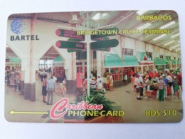BARBADOS   $10-  Gpt Magnetic     BAR-16C  16CBDC  BRIDGE CRUISE TERMINAL    NEW  LOGO   Very Fine Used  Card  ** 2895** - Barbades