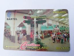 BARBADOS   $10-  Gpt Magnetic     BAR-88D  88CBDD BRIDGE CRUISE TERMINAL   NEW  LOGO   Very Fine Used  Card  ** 2902** - Barbades
