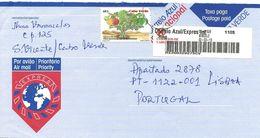 TIMBRES - STAMPS - LETTRE POST BLEU / EXPRÈS POUR PORTUGAL AVEC AUTOCOLLANTS À BARRE ET TIMBRE - CAP VERT / CAPE VERDE - Cape Verde
