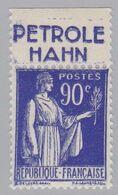 FRANCE : Paix 90c Bleu Bande Pub PETROLE HAHN Neuf XX - Advertising