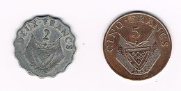 //  RWANDA  2 En 5 FRANCS 1970/1977 - Rwanda
