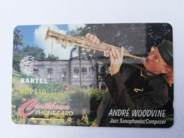 BARBADOS   $10-  Gpt Magnetic     BAR-125C  125CBDC  ANDRE WOODVINE    NEW  LOGO   Very Fine Used  Card  ** 2907** - Barbades