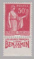 FRANCE : Paix 50c Rouge Bande Pub BENJAMIN  Neuf XX - Advertising