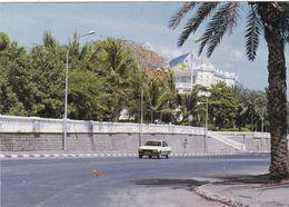 DJIBOUTI  CPSM. LE PALAIS PRESIDENTIEL. CHAT IMPRUDENT PASSANT DEVANT UNE VOITURE - Somalia