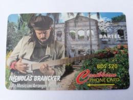 BARBADOS   $20-  Gpt Magnetic     BAR-125D  12CBDD  NICHOLAS BRANCKER   NEW  LOGO   Very Fine Used  Card  ** 2908** - Barbades