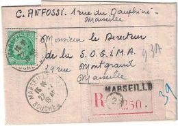 France - Bouches Du Rhône - Marseille - Lettre Recommandée Adressée Au Directeur De La S.O.G.I.M.A. - Mazelin Et Gandon - Marcofilia (sobres)