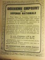 Guerre 14 18 Deuxieme Emprunt De La Défense Nationale  Souscriptions 1ere Guerre Mondiale - 1914-18