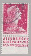 FRANCE : MULLER 15f Rouge Bande Pub ASSURANCES GENERALES-VIE  (o) - Publicités
