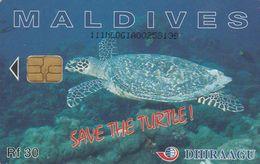 Maldives, 111MLDGIA, Save The Turtle!, 2 Scans - Maldiven