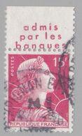 FRANCE : MULLER 15f Rouge Bande Pub ADMIS PAR LES BANQUES  (o) - Advertising
