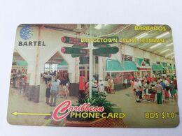 BARBADOS   $10-  Gpt Magnetic     BAR-216C  216CBDC  BRIDGE CRUISE TERMINAL    LOGO   Very Fine Used  Card  ** 2911** - Barbades