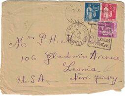 France - Seine Et Marne - Nemours - Oblitération Daguin - Lettre Pour Le New Jersey (USA) - Affranchissement Tricolore - Marcofilia (sobres)