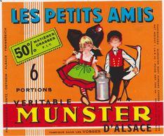 ETIQUETTE DE MUNSTER  LES PETITS AMIS  CARREE 6 PORTIONS - Fromage