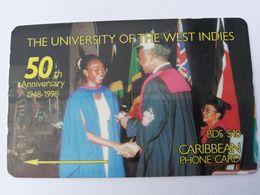 BARBADOS   $10-  Gpt Magnetic     BAR-263D  263CBDD  50TH UNIVERSITY ANNIVERSARY  LOGO   Very Fine Used  Card  ** 2914** - Barbades